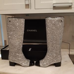 Chanel Silver/Black High Boots